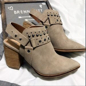 Tan Mule Ankle Boots Pointed Toes Embelished Studs